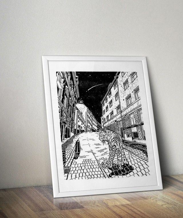 Cat walking down Urvädersgränd, Handmade Linoleum Print by Scandinavian designer Tian Gan