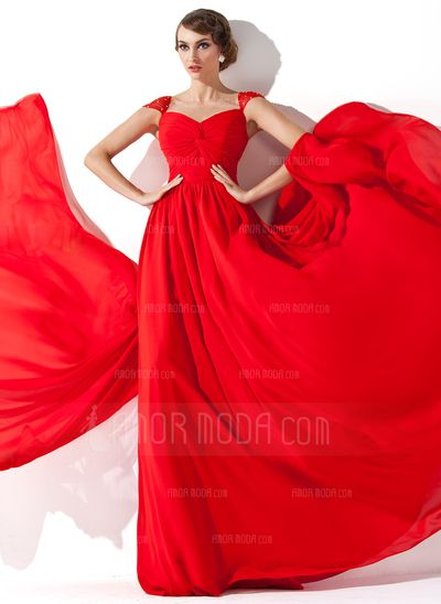 Evening Dresses - $146.99 - A-Line/Princess V-neck Watteau Train Chiffon Evening Dress With Ruffle Beading (017013781) http://hochzeitstore.com/A-line-Princess-V-neck-Watteau-Train-Chiffon-Evening-Dress-With-Ruffle-Beading-017013781-g13781