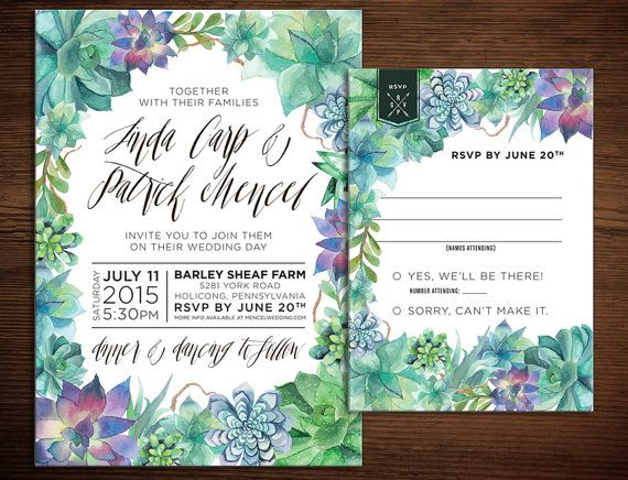205 best wedding invitations images on pinterest wedding watercolor succulent wedding invitation 5x7 by paperinvitations stopboris Gallery