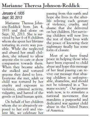 Full text of Marianne Theresa Johnson-Reddick's obituary - WOW! GOD bless the surviving children. This is the kind of obit you should strive to avoid.