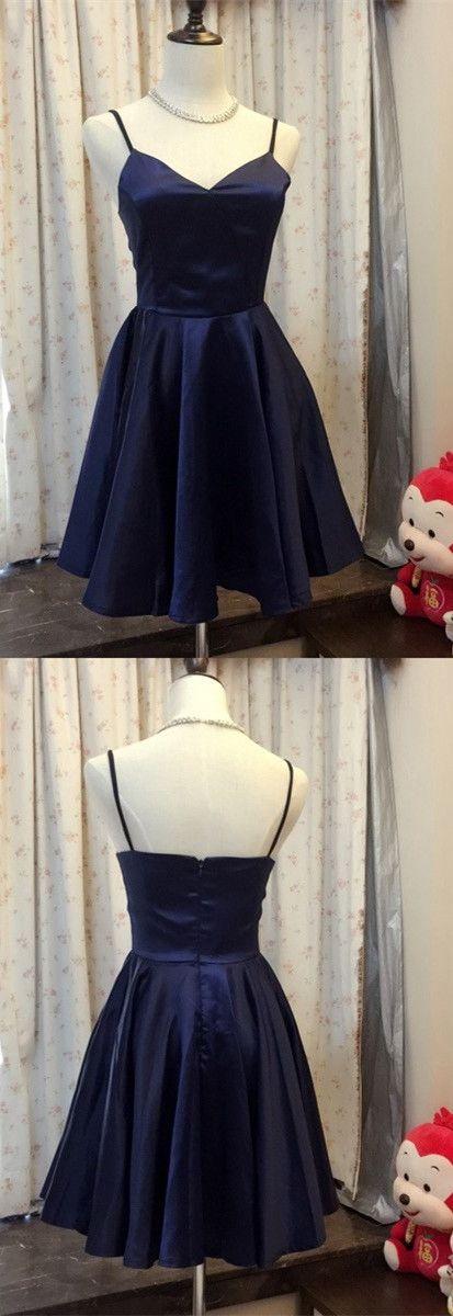 2017 short homecoming dress, navy blue homecoming dress, party dress