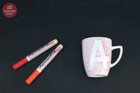 Tassen selbst gestalten Tassen selbst bemalen Tassen beschriften Anleitung Masking Tape Klebeband Buchstabe hand painted cups easy tutorial
