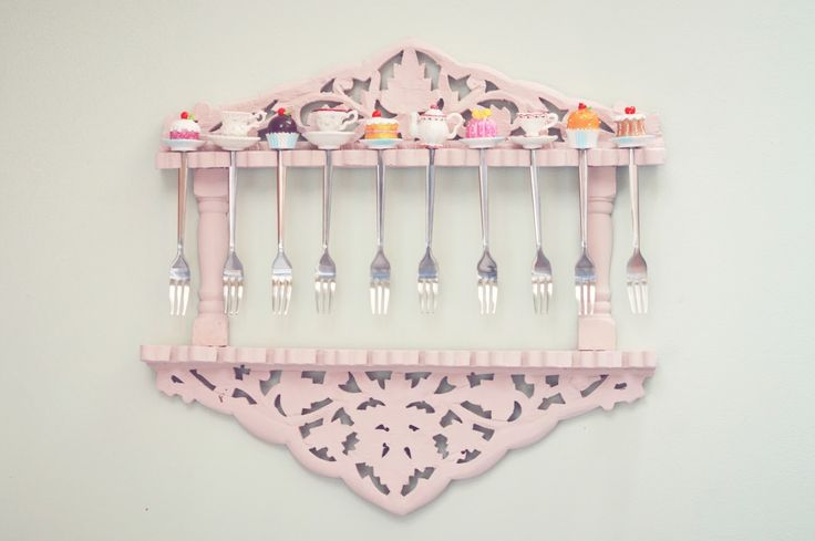 Pastel pink cake fork display painted with autentico chalk paint in Rose  JillyJilly: June DIY: A Quirky Kitchen Accessory