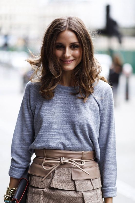 Olivia Palermo. Love her hair + leather skirt.
