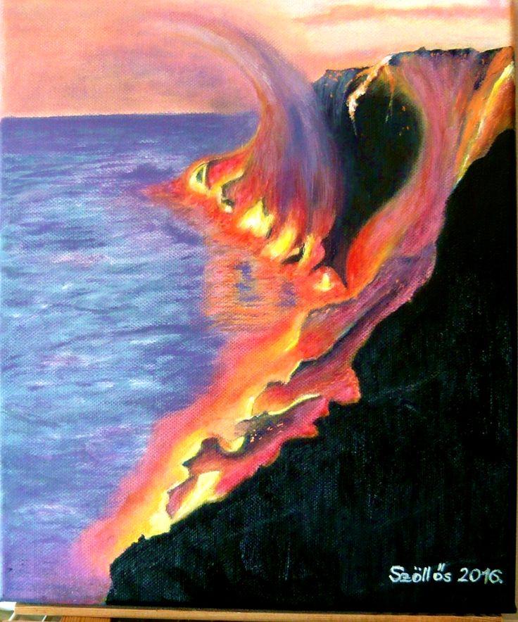 created by:  Szöllős Éva - Kalapana, lava, Hawaii, oil, 20x30 cm canvas (Original:sandandserif.com)