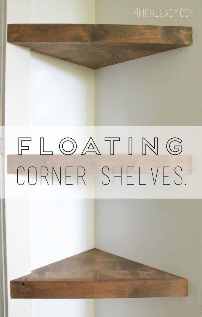 How to make floating corner shelves tutorial. http://4men1lady.com