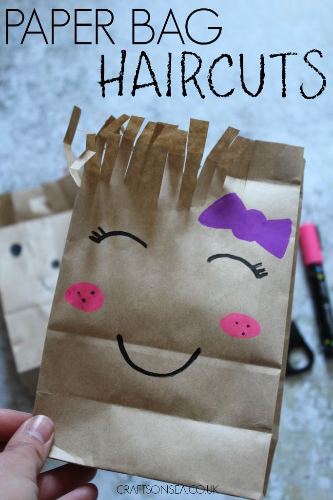 This sweet paper bag haircut craft is a great way to help kids practice their scissor skills and is a great way to make use of recycled materials.