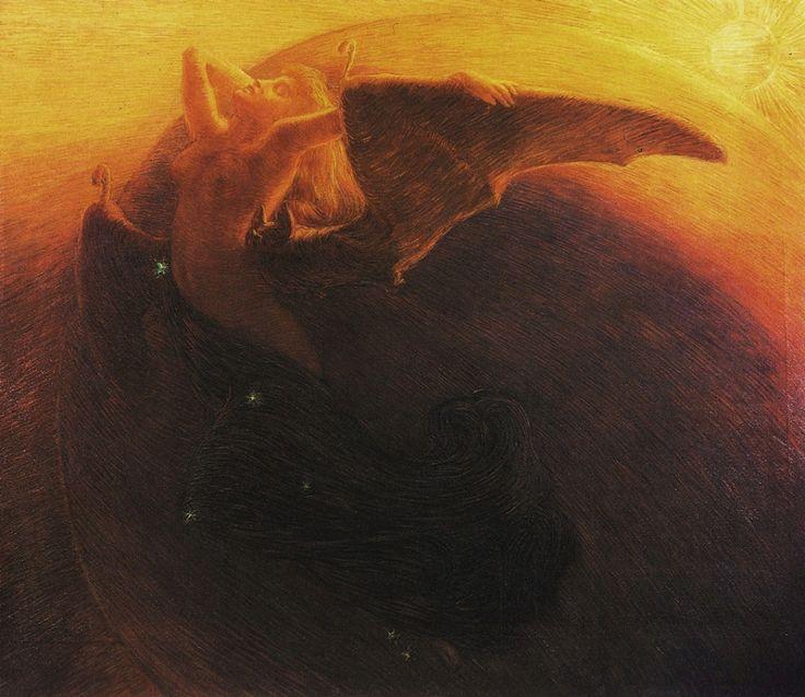 Gaetano Previati - Day Awakens the Night (1905)