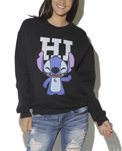 Lilo and Stitch sweatshirt with ripped jeans :) hair in a bun and simple eyeliner go great with this look