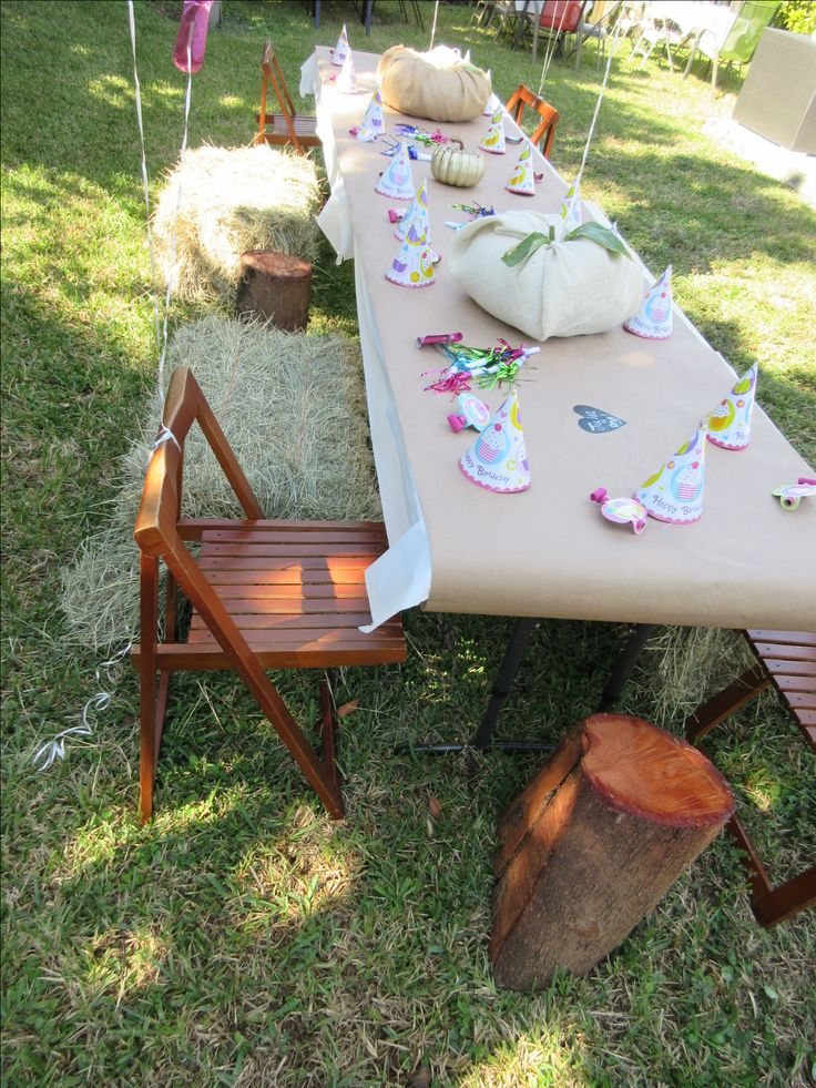 Pumpkin patch kid's tables. Hay and tree stumps for chairs.  The kids and adults loved the table!!