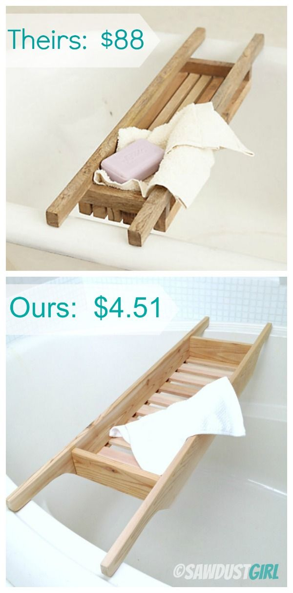 $5 bath caddy.  - free and easy plans from https://sawdustgirl.com.