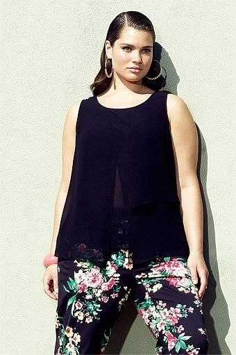 Addition Elle - Addition Elle Black Chiffon Blouse - EziBuy Australia