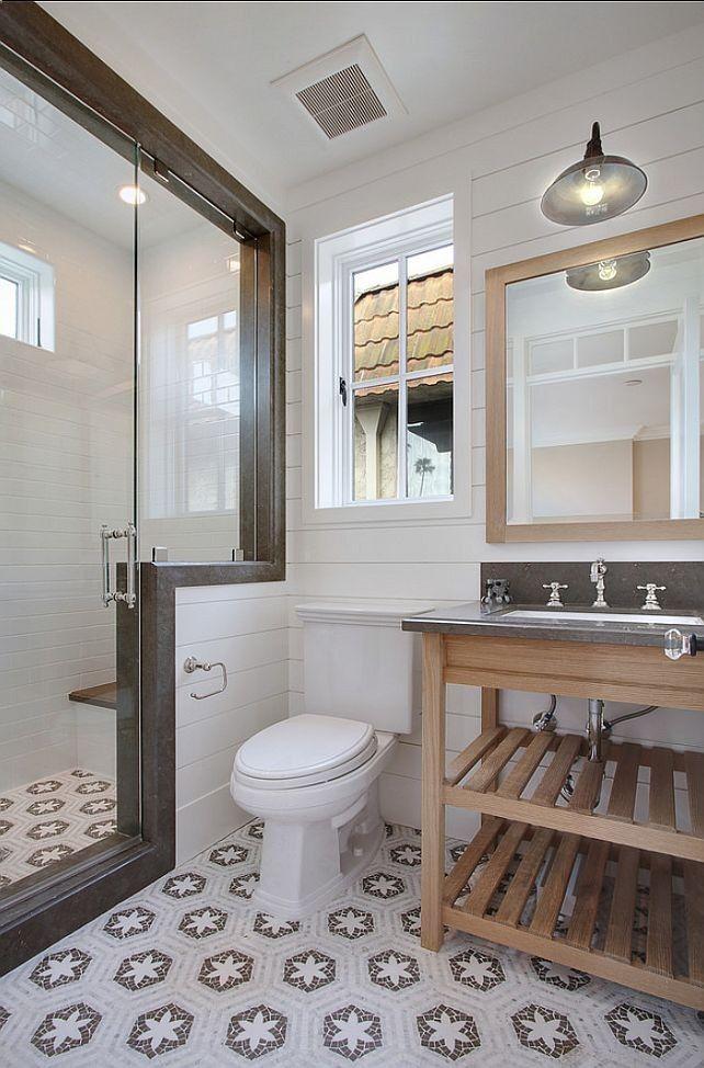 interesting bathroom tile floor  /neutrals / natural