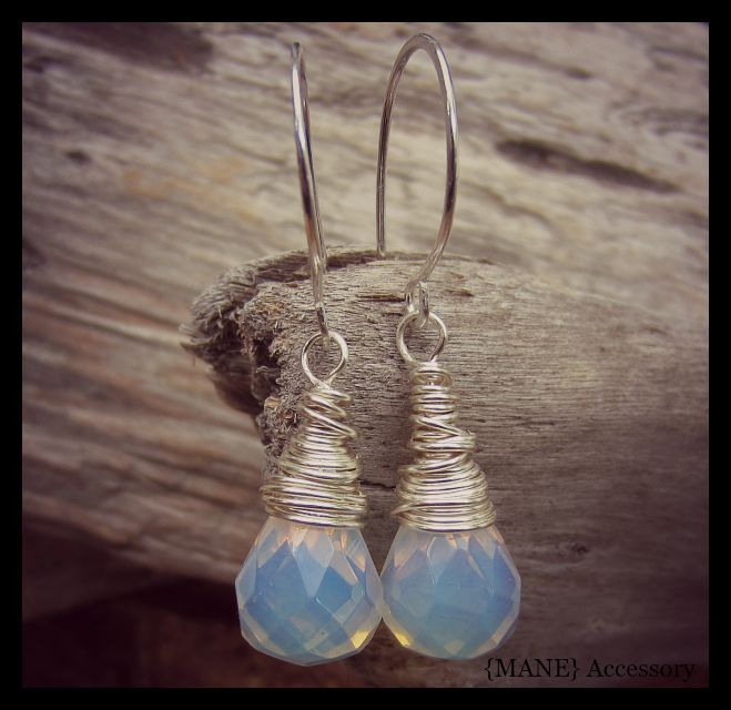 Hand made earrings with Opalite gemstone briolettes, featuring hand forged earwires made of sterling silver.