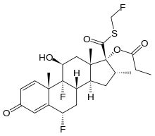 Fluticasone propionate (Flovent) is a corticosteroid derived from fluticasone used to treat asthma and allergic rhinitis (hay fever). It is also used to treat eosinophilic esophagitis.