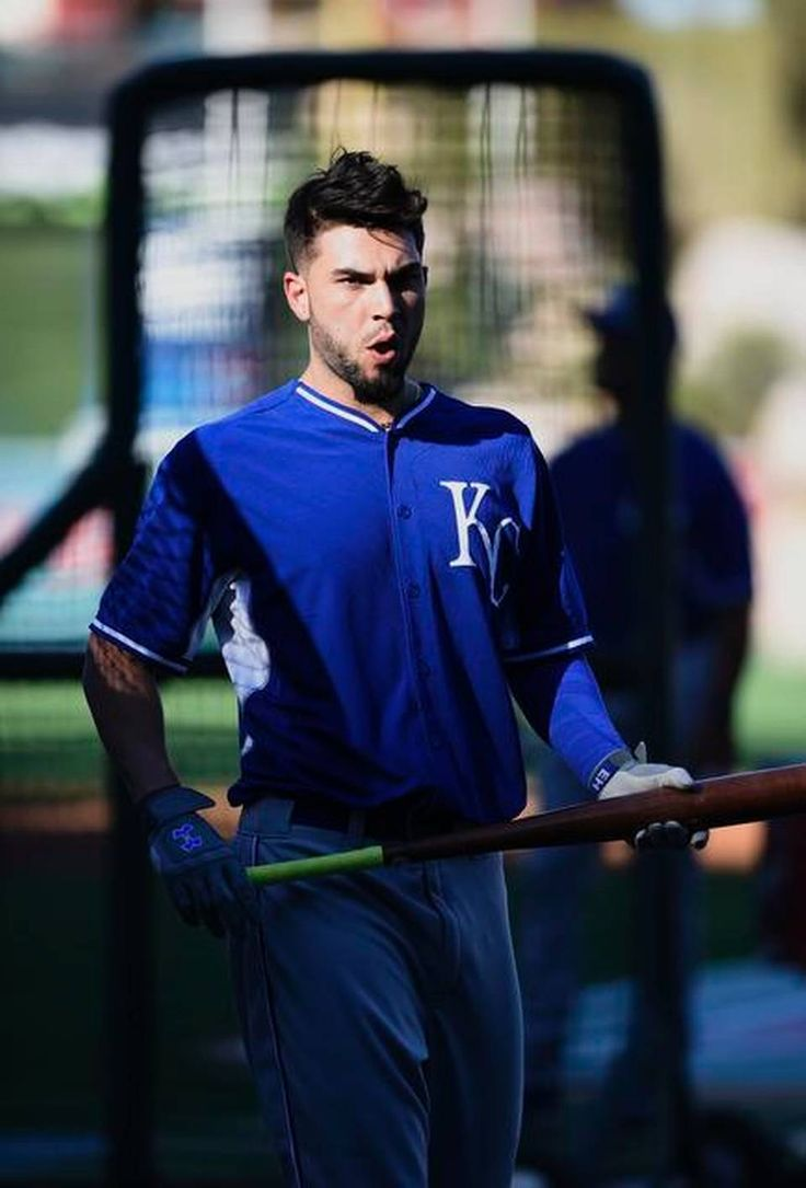 Kansas City Royals first baseman Eric Hosmer (35) walked out of the batting cage prior to the game against the Los Angeles Angels prior to Thursday's ALDS baseball game on October 2, 2014 at Angels Stadium in Anaheim, Calif.