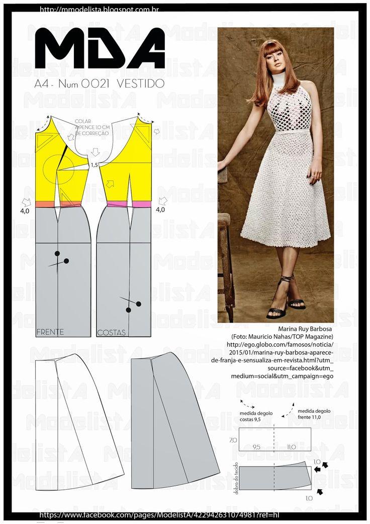 ModelistA: A4 - NUM 0021 - VESTIDOquinta-feira, 29 de janeiro de 2015 A4 - NUM 0021 - VESTIDO Gola alta(ou gola rolê) é um tipo de gola geralmente redondo e alto, com propósitos estético e de proteção ao frio, podendo se ajustado sua altura.É um tipo de gola unissex, geralmente do mesmo tecido do resto da vestimenta1 , na maioria dos casos, esta presente no suéter interno, quando abaixo de alguma vestimenta.