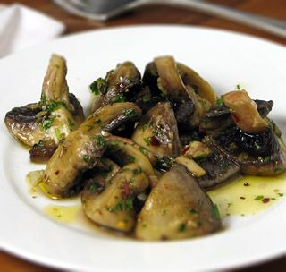 Champiñones al ajillo (Spanish garlic mushrooms). My friend swears by these. I'm going to put these over pasta this week and do the bread and cheese next week