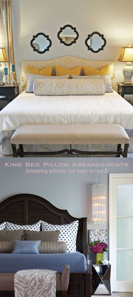 Love this combination of pillows that allows you to still hide your sleep pillows behind the 3- euro shams (for a King bed).   BIG reck roll is unique yet maybe really useful for tv watchers?