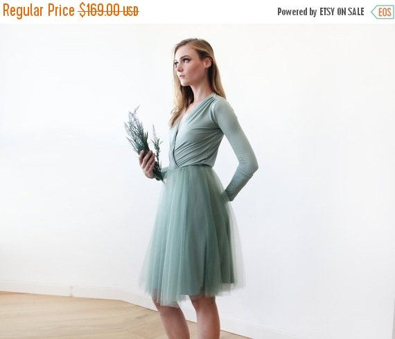 Oscar Sale Sage green midi length tulle gown with by BLUSHFASHION