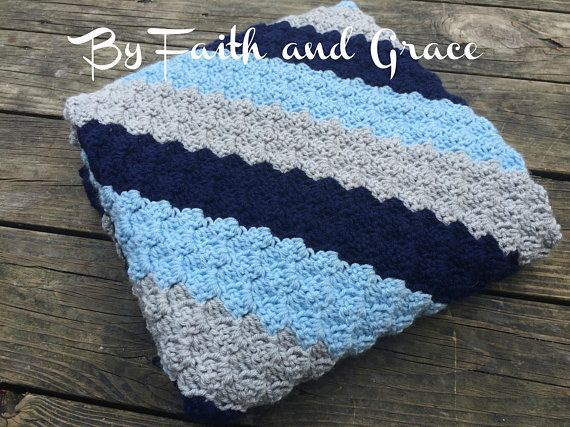 Baby Afghan - Toddler Afghan  - Baby Shower Gift - Navy Baby Blue and White - Baby Blanket -  Crochet Blanket - Baby Boy Blanket Afghan