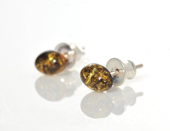 Amber Earrings/Green Amber Beads/Silver Details/Amber by AnnaBujak