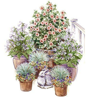 container garden: Gardens Ideas, Decks Ideas, Multiplication Pots, Container Gardens Plans, Gardens Size, Gardens Landscape Ideas, Gardening, Gardens Plants Ideas,  Flowerpot