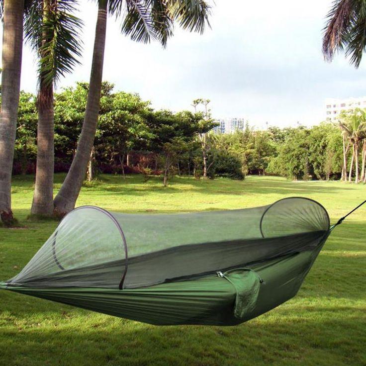 Outdoor Parachute Doek Stof Hangmat Draagbare Camping Hangmat Met Muskietennetten Persoon Hangmat Swing