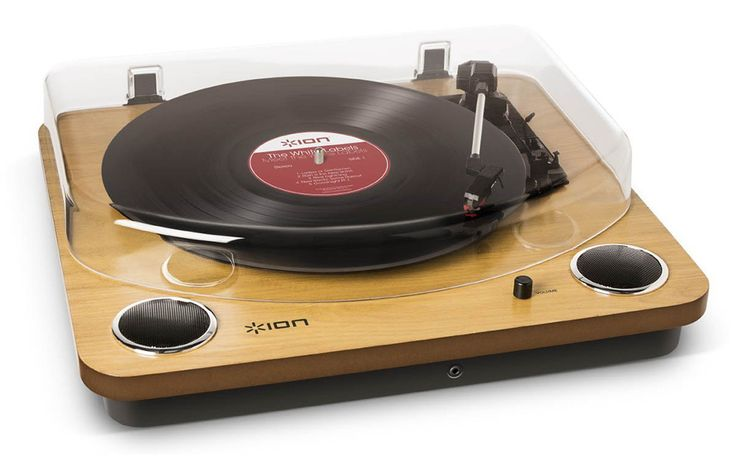 The Audio Max LP 3-Speed Belt Drive Wooden DJ Turntable with Built-In Speakers is a great looking option for those wanting a record player around $100.