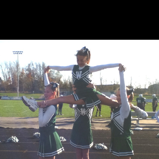 This what we call the teddy bear and it's an awesome cheer stunt!