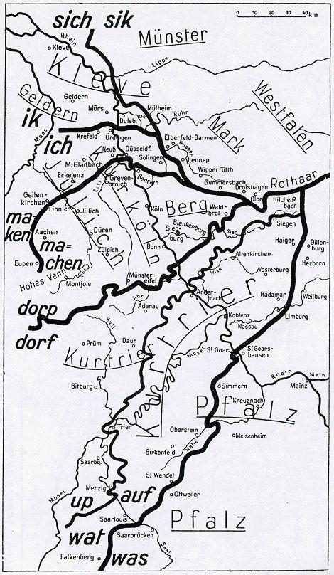 Südniederfränkisch nennt man den Bereich zwischen der ik/ich- (oder Ürdinger) Linie und der maken/machen- (oder Benrather) Linie; Ripuarisch heißt das Gebiet zwischen der Benrather Linie und der dorp/dorf-(oder Eifel-) Linie.