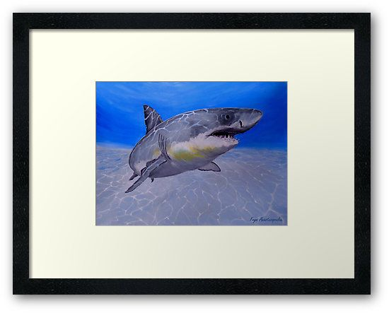 Framed art print, shark, painting,  underwater,world,scene,seascape,fish,wall,art,ocean,life,blue,turquoise,nature,sea,great white shark,tropical,deep,ocean,saltwater,jaws,light,illumination,patterns,wildlife,home,office,decor,beautiful,awesome,artwork,modern,aqua,blue,turquoise,beautiful,images,fine,art,oil,contemporary,realism,figurative,items,ideas,for sale,redbubble
