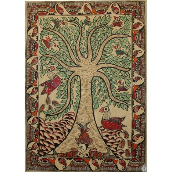 An intricately done tree of life laden with leaves, populated with birds such as peacocks and parrots, while the fish swim below, in the river it overlooks. This is the Madhubani artists way of depiction of the harmonious coexisting the nature...