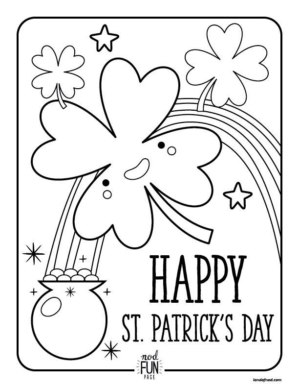 This is an image of St Patrick's Printable Coloring Pages in twisty noodle