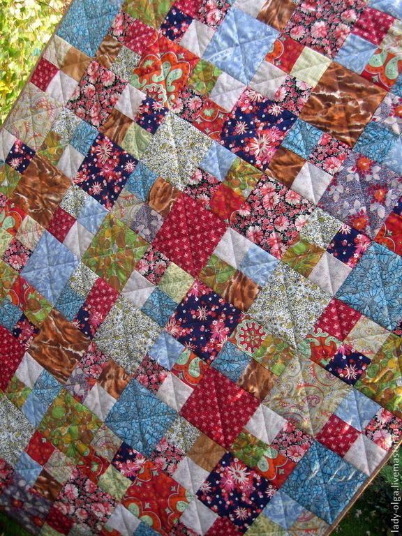 Four patch multicolor scrap quilt idea, Inspiration by Russian traditional quilting #multicolor #eclectic #country #four patch #scraps #quilt #quilting #patchwork #idea #red #blue #green  Лоскутное одеяло покрывало Яркие Воспоминания подарок женщине  #лоскутное #одеяло #лоскут #покрывало #lady #olga