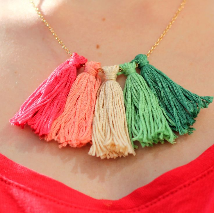 Tassels are the accessory trend of the summer. This tutorial shows you how to make a tassel necklace with a few cheap supplies.