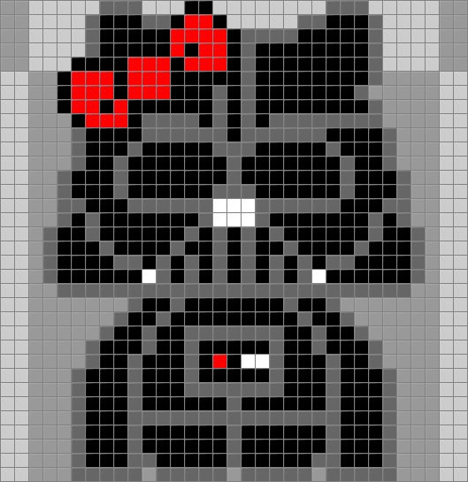 Darth Kitty - Hello Kitty Darth Vader from Star Wars. The grey background squares resemble 29x29 pegboards for hama beads / perler.
