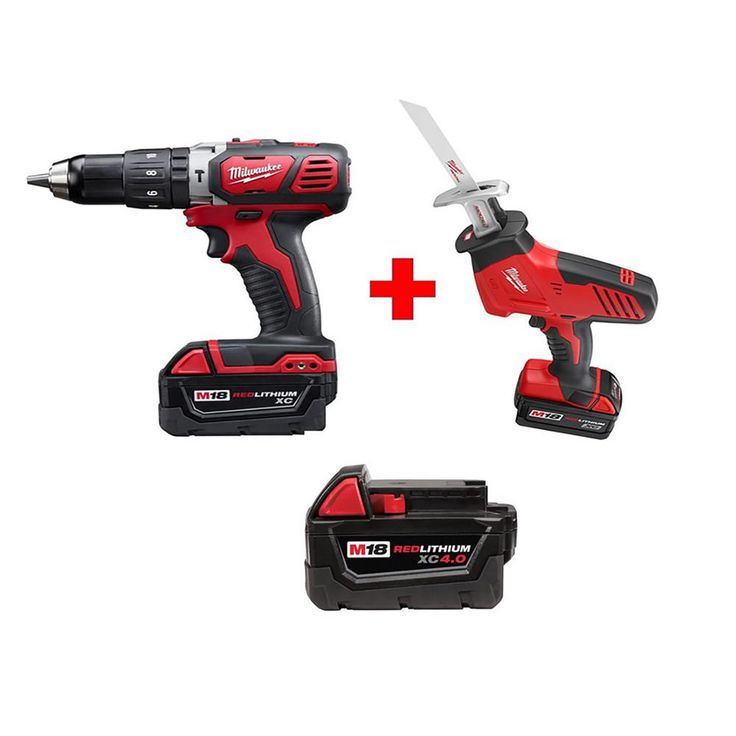 Milwaukee M18 18-Volt Lithium-Ion Cordless Hammer Drill/Hackzall Combo Kit (2-Tool) with Free M18 4.0Ah Extended Capacity Battery