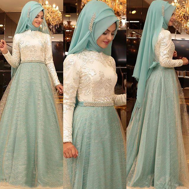 HUZUR Abiye. Bayramdan sonra kimlerin düğünü var ☺️ Bayram sonrasına hazırlık abiyelerimizi paylaşalım o zaman. Mint renginin en güzel hali, gold simli tülle buluştu. Zarif kemere zaten hayranım. İyi günlerde kullanın inşallah. #pınarşems #huzurabiye #tesettür #abiye #hijab #hijabindonesia