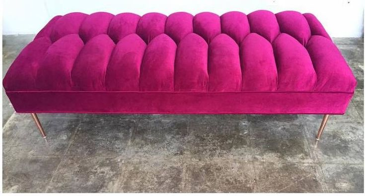 Henri Stool | The Henri ottoman/bench in pink colour. Tufted. Dimensions are in inches. view details on www.treniq.com