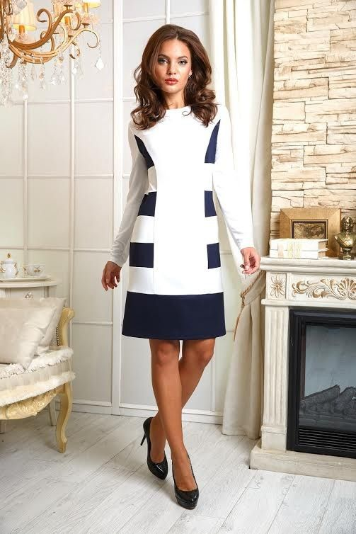 Фото Платье П-177 Бело-синие полосы Джерси 1150 р +17% итого 1346руб р-р 50