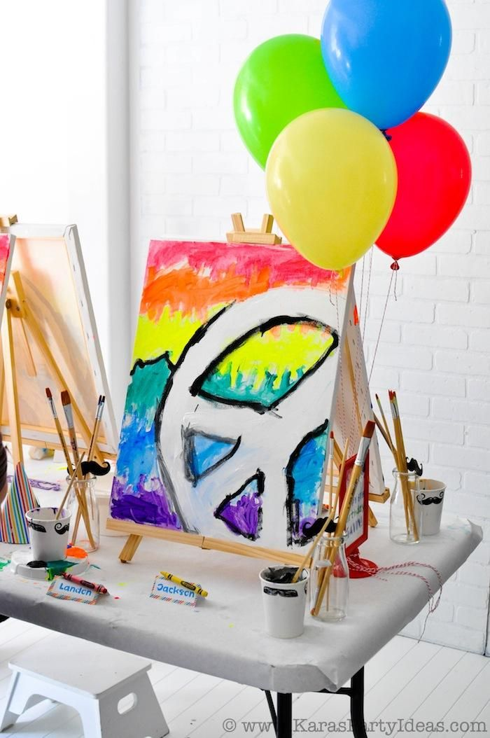 Colorful Art Party with tons of ideas, FREE printables, Tutorials