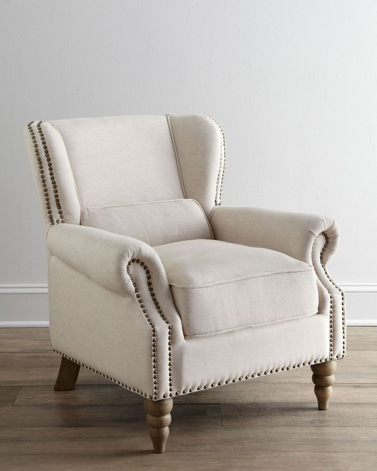 Mariko  Armchair at Horchow  White Cotton Linen  Slightly Reclined Back  and Comfy Lumbar Pillow  Oversize Nailhead Trim and Turned Legs. 155 best Chairs images on Pinterest   Armchairs  Living room ideas