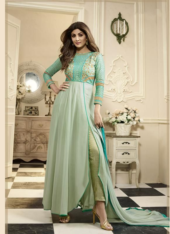 Saree Buzz Naari Pastel Green Colored Georgette Designer Salwar Kameez