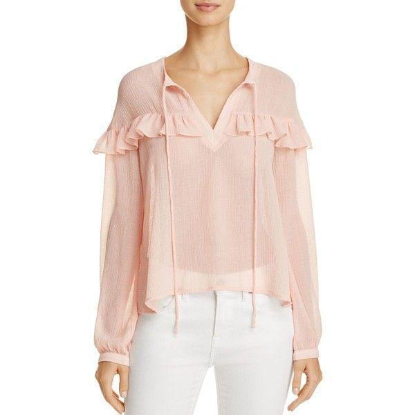 En Creme Sheer Ruffle-Trim Blouse featuring polyvore women's fashion clothing tops blouses dusty pink pink blouse pink top cream blouse sheer blouse cream ruffle blouse