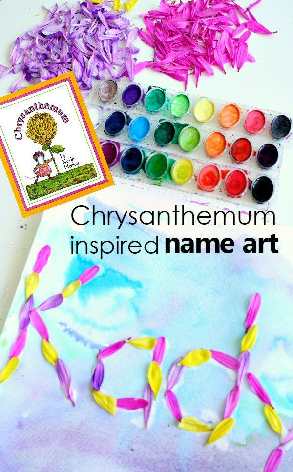 Chrysanthemum inspired name art for preschool. Part of a full week of Chrysanthemum activities and lesson plans via @shaunnaevans