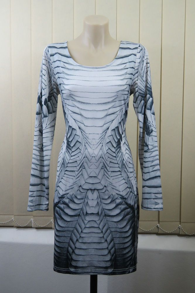 Size S 10 Ladies Dress Tunic Bodycon Pencil Stretch Cocktail Dance Party Design