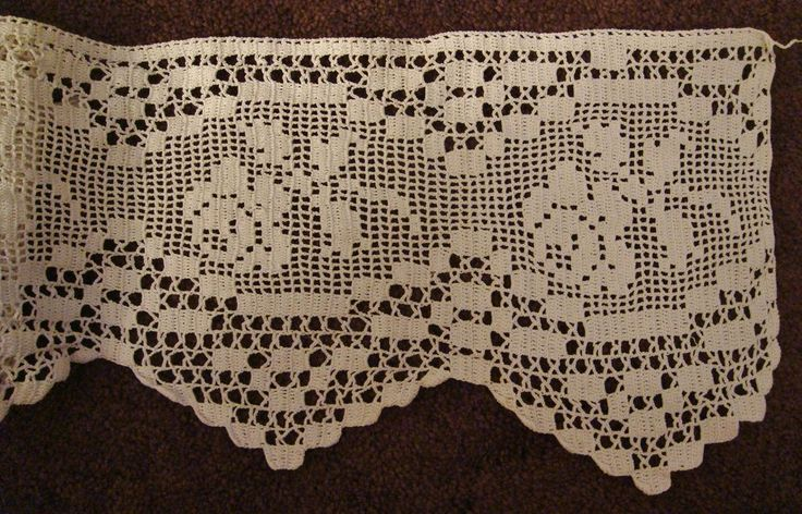 "7"" Filet Crochet Edging Lace Rose Stem with Scallop Finish"