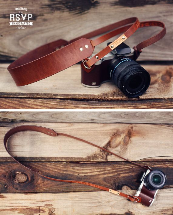 Custom Leather Camera Strap Skinny Thin Camera by RSVPhandcrafted
