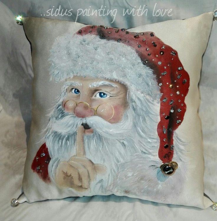 Cuscino natalizio dipinto a mano